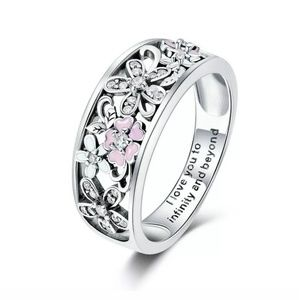 Flower floral I love you ring size 8